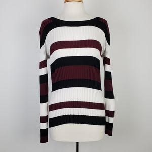Pink Rose Long Sleeve Ribbed Striped Sweater Large